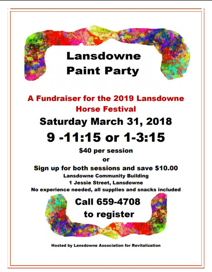 LAFR Paint Party – Saturday March 31, 2018