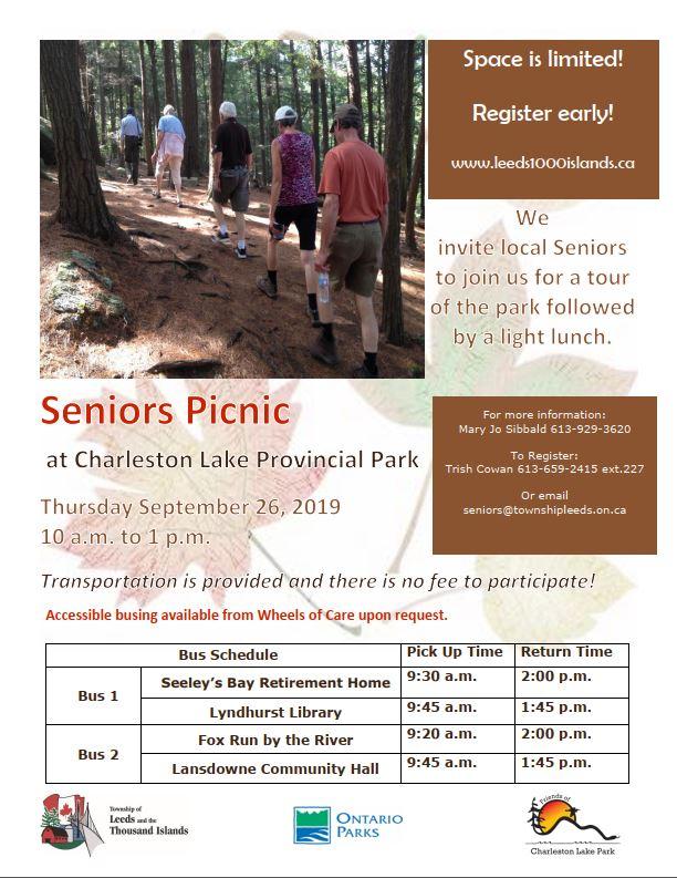 Seniors' Picnic at Charleston Lake Provincial Park