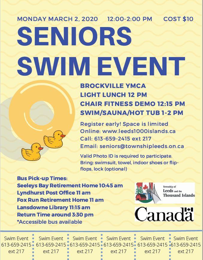 Seniors' Swim Meet – March 2, 2020