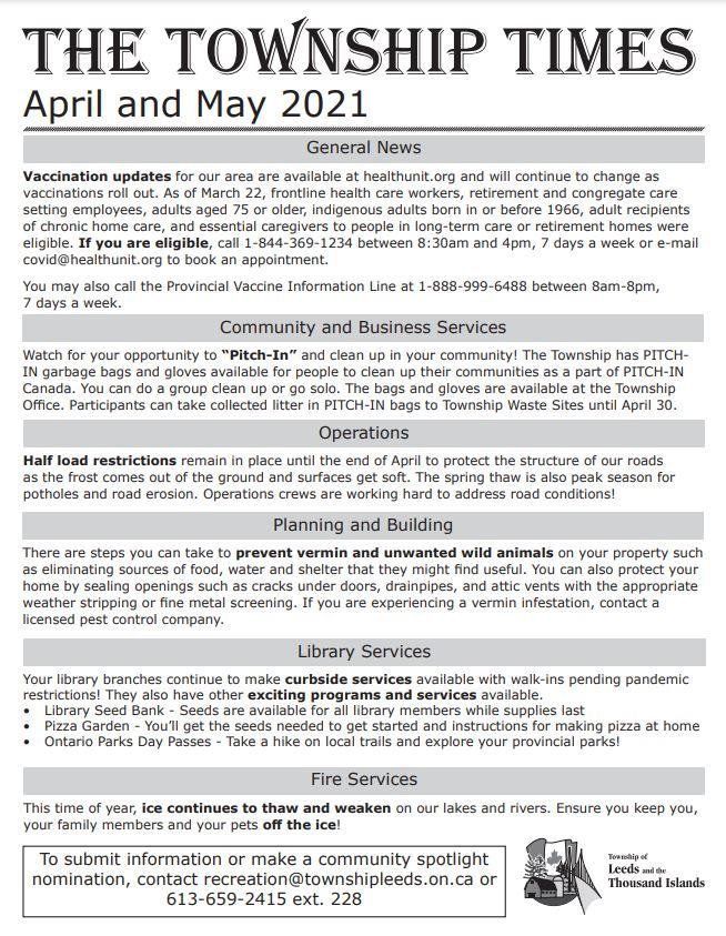 Township Times April – May 2021