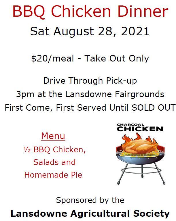 BBQ Chicken Dinner – August 28, 2021 – Lansdowne Fairgrounds